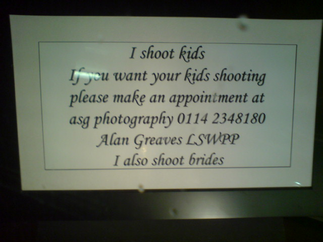 I shoot kids
